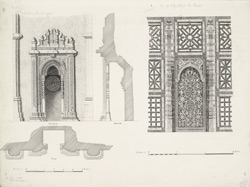 Sarkhej: Mihrab in the mosque (left), One of 3 panels in the tomb (right)